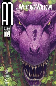 Weirding Willows #4 by Dave Elliott Cover with Purple T Rex