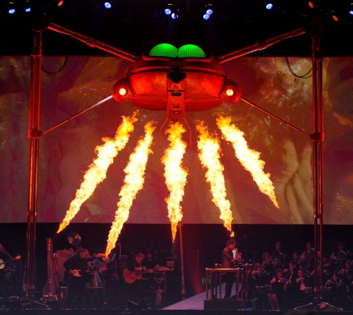 A Martian Fighting Machine opens fire on stage