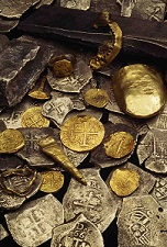 Pirate Treasure Coins on Display at (Photo from Minnesota Monthly, Copyright 2008, Bill Curtsinger, National Geographic)
